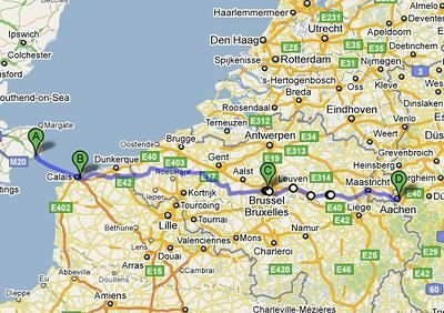 Map of Channel Triathlon Dover-Calais-Brussels-Aachen