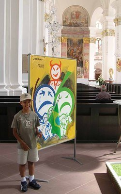 little German-American boy with Brasilian flag in Jesuitenkirche