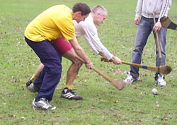 A hard game of hurling.