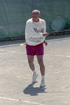 Sri Chinmoy playing Tennis in New York, April 1988: Scanned from Film