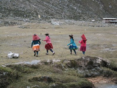 Kechua girls playing soccer