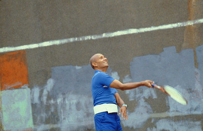 Sri Chinmoy playing tennis