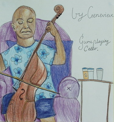 Sri Chinmoy playing Cello by Genevieve