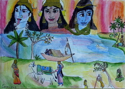 Indian River Scene with Cosmic Gods by Genevieve
