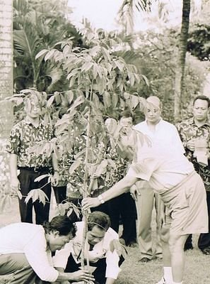 Sri Chinmoy planting a tree in city of Surakarta, Indonesia December 2003