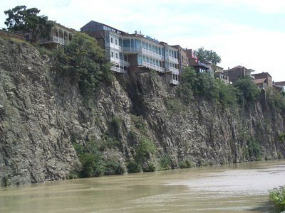 houses over the river Mtkvari