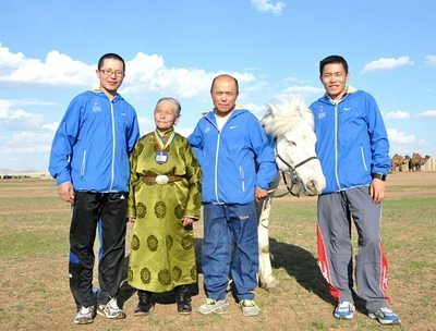 Me and dad, grandmother, brother with  Guru's horse