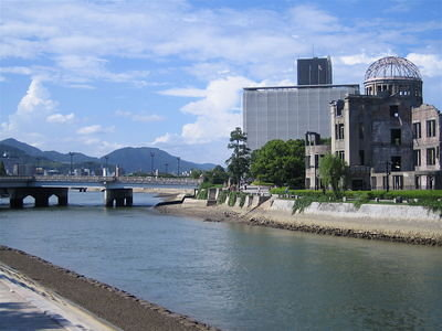 The A-Bomb Dome is to the right. This area is known as the hyper-centre of the explosion.