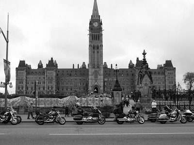 Motorcycles in front of the parliament