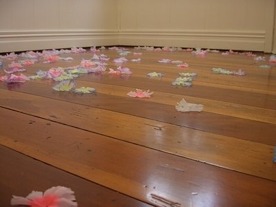 Flowers on the exhibition room floor