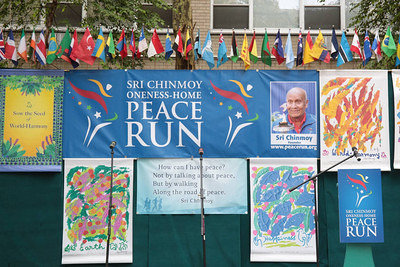 22nd August 2014 Peace Run Closing Ceremony Cathy Oerter + Bill McCreary