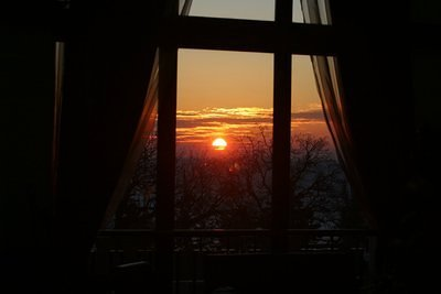 Sunrise through the window