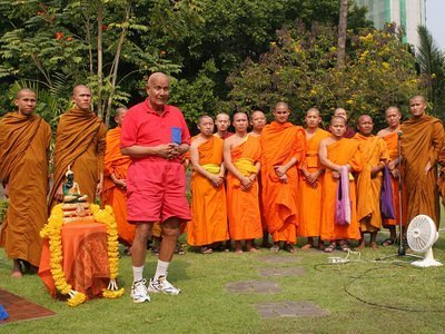 Sri Chinmoy with monks