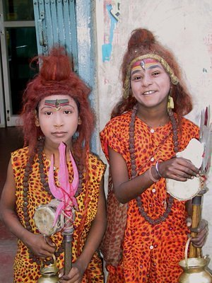 two playful sadhus