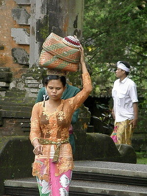 Arriving at Tirta Empul with Offerings