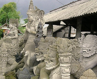 Gazillions of Statues on the Road to Ubud
