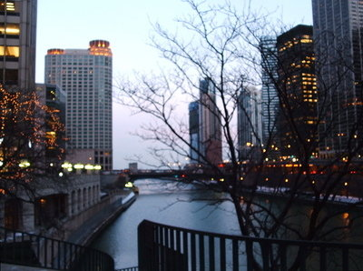 The view from the bridge over the Chicago River