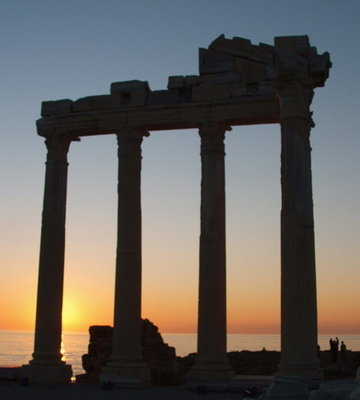 Side, Turkey ruins at sunset