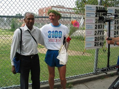 Congratulation by the father of the ultra distance running Ted Corbit.