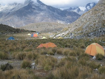 The Base camp for Pisco and Huandoy peaks