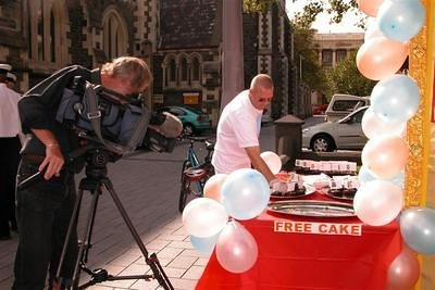 David does a lot of cake refilling while TV3 looks on.