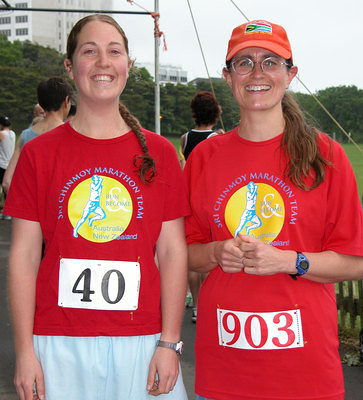 Sophie (Dunedin) and Carol (Wellington) from the Sri Chinmoy Marathon Team