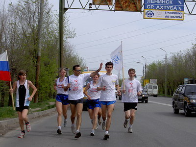 Dmitriy Chirkov with the torch