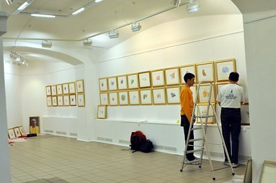 Setting up the exhibition