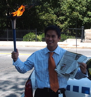 Reporter with his article on us -2006 Harmony Run