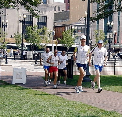 Harmony Run 2008 Rhode Island - Running into Kennedy Plaza for Providence Ceremony